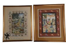 2 Colorful Persian Hand Painted Scenes on Silk Vintage Artwork India? Tapestry
