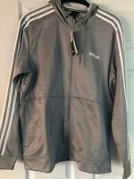 Adidas Men's Climawarm Tech Fleece Full Zip Hooded Jacket Gray/White 3S Sz:L NWT