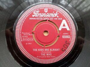 The Who Original Vinyl Single THE KIDS ARE ALRIGHT Promo / Demo. Brunswick. Rare