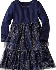 NWT $52 Hanna Andersson Blue Glitter Twirl Dress 110 5-6X Repaired Flaw