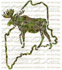 Camouflage Camo Maine Moose Hunting Vinyl Decal Hunt Sticker Hunter Bull