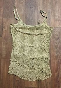 Original Vintage 1980s Gold Beaded/Crochet Evening Top UK Size 8/10