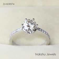 Engagement Ring 925 Sterling Silver 1Ct White Round Moissanite Wedding