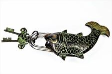 Old Fish Lock and Keys Fully Functional Padlock 492g