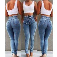 Womens pants Elastic pencil long denim trousers stretch waist jeans skinny
