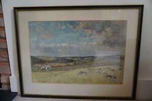Large Framed Hunting Print- Hounds and Huntsman in wide countryside landscape