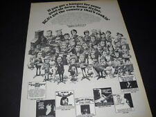 Rca Country Cookin' Rare 1974 Promo Ad w/ all Rca country artists as cartoonish