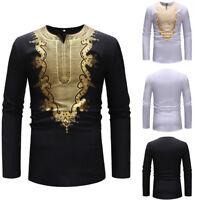 Men's Autumn Winter African Printed Shirt Long Sleeve Dashiki Shirt Tops Blouse