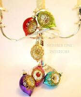Christmas glass baubles dimpled set of 6 rich jewel colours vintage style boxed