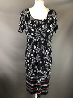 M&S Per Una Size 12 Navy Blue Jersey Stretch Dress Shell Floral Print Stripe
