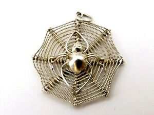 SPIDER IN WEB vintage sterling silver charm flat with three dimensional spider