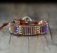 Leather Steel Crystal Beaded Wrap Bracelet, Chakra Oblong Rainbow Peacock Ore