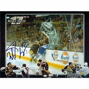 Milan Lucic Boston Bruins Signed Autographed Through the Glass Collage 11x14