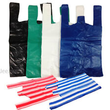 100 Vest Plastic Carrier Bags White Blue Black Green Stripe Small Medium Large
