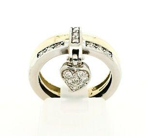 Damenring Gelbgold Weißgold 16 Diamanten Herzanhänger 585 14kt Gr. 50