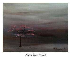 """""""Storm Tree"""", Print of oil painting by Robert Marquiss, white border, no frame"""