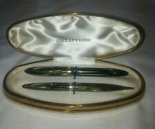 Striated Green Sheaffers 350 Pen Set With Original Clam Shell Box