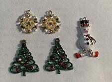 2 Pair Earring Pendants SNOWFLAKE & CHRISTMAS TREE & SNOWMAN Necklace Pendant