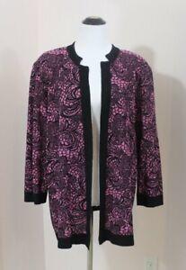 MISOOK Sz 1x Purple Pink Black Floral Cardigan Jacket Acrylic Blend 3/4 Sleeve