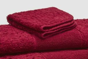"$299 Abyss Unisex Red Egyptian Cotton Super Line Signature Hand Towel 17"" x 30"""