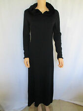NINA LEONARD Sweater Dress Small Black With Hood Trimmed in Faux Fur