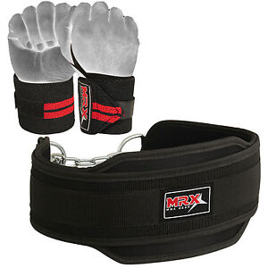 Power Weight Lifting Dip Belt & Wrist Wraps for Gym Workout Training Straps Set