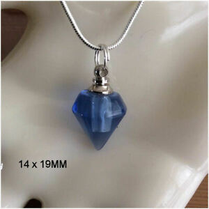 Crystal Ashes Urn Necklace - Blue Diamond Cremation Jewellery Keepsake Memorial