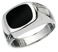 Elements 925 Polished Sterling Silver & Genuine Black Onyx Men's Signet Ring