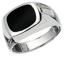 Elements 925 Polished Sterling Silver & Genuine Black Onyx Men's Signet Ring [P]