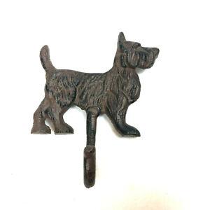 Terrier Single Key Holder Hook Cast Iron Wall Mounted Dog Hanger Hat Rack