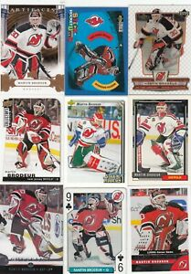 MARTIN BRODEUR a lot of 9 DIFFERENTS CARDS INSERTS near mint   LOT 90