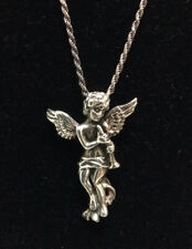 """Angel With Horn Sterling 925 Silver Pendant on 30"""" 925 Silver Chain. 7 gms"""