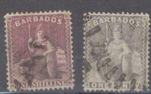 Barbados 1875-81 Lot -  1/- Shilling Purple & One Penny Black