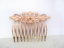 Small rose gold copper metal alloy filigree hair comb clip barrette