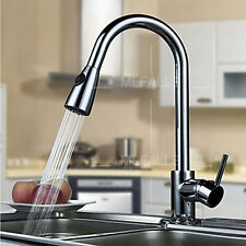 Kitchen Sink Faucet Taps Single Lever Chrome Finished Pull Down Swivel Spout New