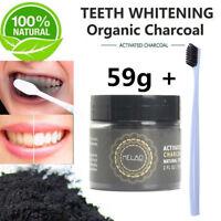 100% Naturel Organique Charbon Actif Poudre Blanchiment des Dents Dentaire Noir