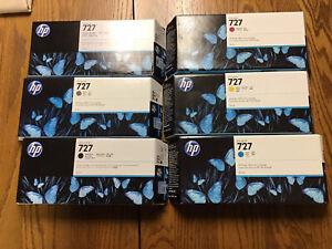Set of 6 Genuine Factory Sealed HP 727 Ink Cartridges HIGH YIELD 300 ml