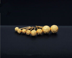NEU 925 Sterling Silber Gold Matt Kugel Ohrstecker Ohrringe Größe 3mm, 4mm
