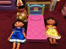 3 DORA Dolls, Bed Lot - Magic Hair Fairytale Princess Talking/Singing