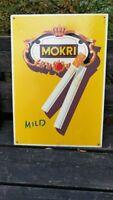 Altes 40er 50er Werbeschild Mokri Mild Zigaretten 51 x 36 cm Top Zustand Reklame