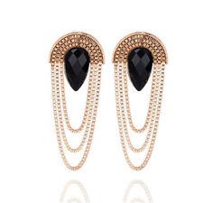 Elegant Gold Metal Chain Tassel Drop Ear Stud Earrings Women Luxury Jewelry