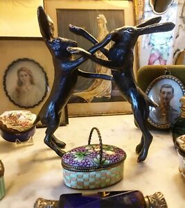 Enchanting Solid Hot Cast Bronze  - Boxing  Hares, Subtle Highlights Made In UK