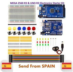Starter Kit MEGA 2560 UNO R3 Breadboard LED Jumper Wire Button for Arduino