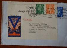 """British Sailors Society envelope franked """"V"""" Aug 1945"""