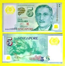NEW Singapore $5 Five Dollar Polymer Note UNC (2HA035888)