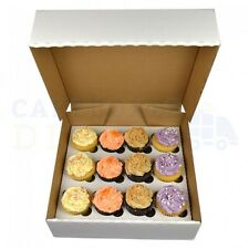 50 X 12 Cupcake (Corr) white Box with 6cm Dividers FREE NEXT DAY DELIVERY