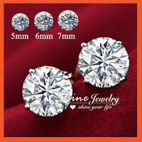 925 STERLING SILVER MENS WOMEN CT LAB DIAMOND valentine CLAW ROUND STUD EARRINGS