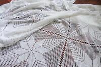 "Vintage crocheted bedspread 83"" Handmade white blanket with stars Coverlet"