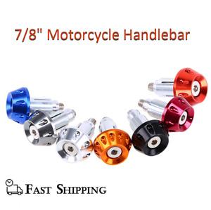 "7/8"" Motorcycle Handlebar Grips Bar End 8mm Aluminum Plugs Cap Sliders Weights"
