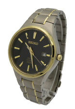 Seiko Solar SNE382 Mens Titanium Two Tone Black Dial Date 100M 40mm Watch
